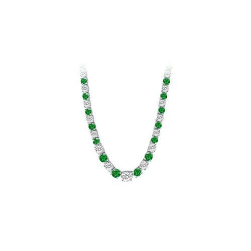 14K White Gold Emerald & Diamond Eternity Necklace 17.00 CT TGW-JewelryKorner-com