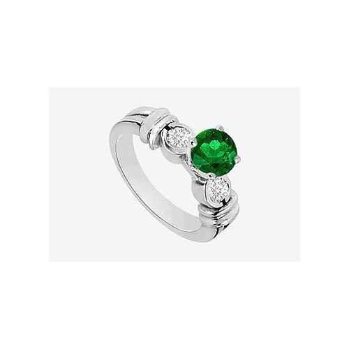 14K White Gold Engagement Ring in Diamond and Natural Emerald 0.80 Carat TGW-JewelryKorner-com