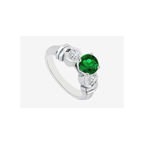 14K White Gold Natural Emerald and Diamond Engagement Ring 0.90 Carat TGW-JewelryKorner-com