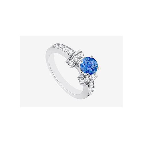 14K White gold Natural Sapphire and Diamond Engagement Ring1.60 Carat TGW-JewelryKorner-com