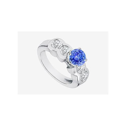 14K White Gold Natural Tanzanite and Diamond Engagement Ring in 14K White Gold 2.20 Carat TGW-JewelryKorner-com