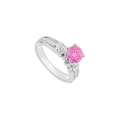 14K White Gold : Pink Sapphire and Diamond Engagement Ring 0.75 CT TGW-JewelryKorner-com