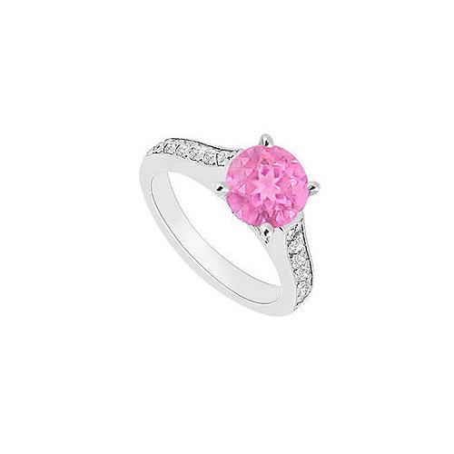 14K White Gold : Pink Sapphire and Diamond Engagement Ring 0.80 CT TGW-JewelryKorner-com