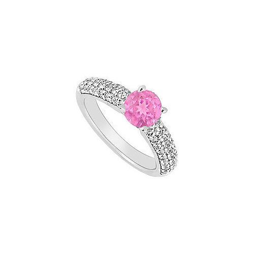 14K White Gold : Pink Sapphire and Diamond Engagement Ring 1.10 CT TGW-JewelryKorner-com