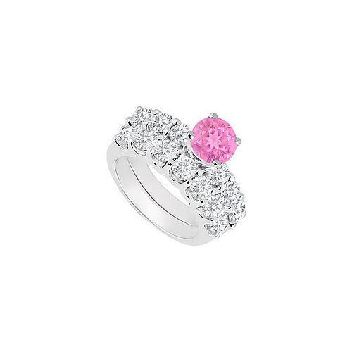 14K White Gold : Pink Sapphire and Diamond Engagement Ring with Wedding Band Set 1.15 CT TGW-JewelryKorner-com
