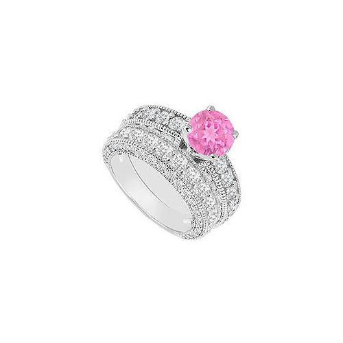14K White Gold : Pink Sapphire and Diamond Engagement Ring with Wedding Band Set 3.50 CT TGW-JewelryKorner-com