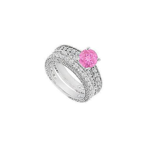 14K White Gold Pink Sapphire & Diamond Engagement Ring with Wedding Band Sets 2.50 CT TGW-JewelryKorner-com