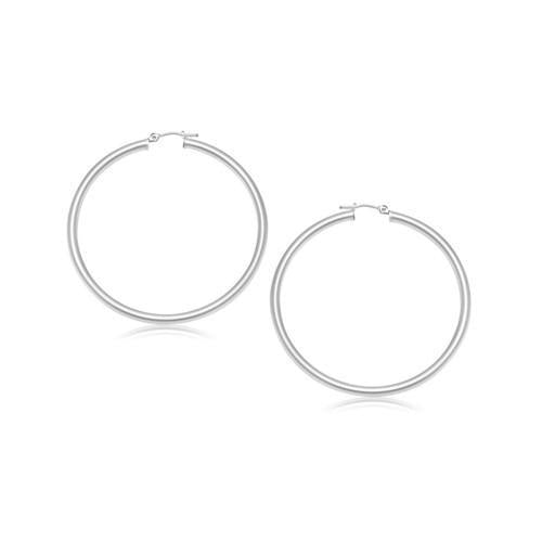 14K White Gold Polished Hoop Earrings (25 mm)-JewelryKorner-com