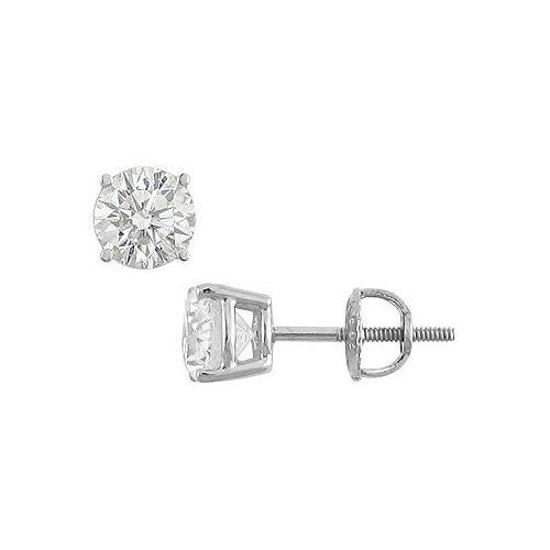 14K White Gold : Round Diamond Stud Earrings 2.00 CT. TW.-JewelryKorner-com
