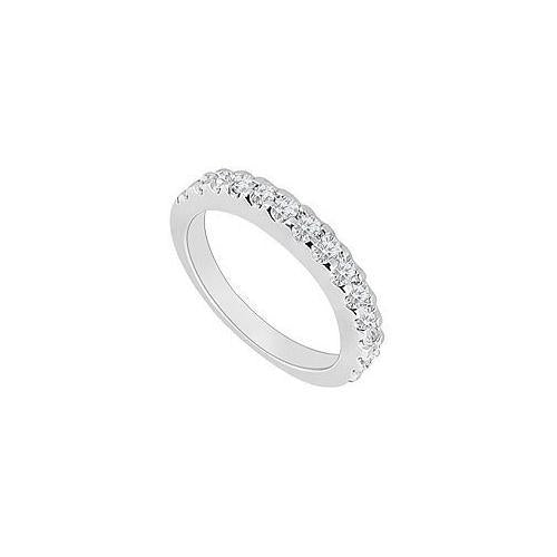 14K White Gold : Round Prong-Set Diamond Wedding Band 0.50 CT TDW-JewelryKorner-com