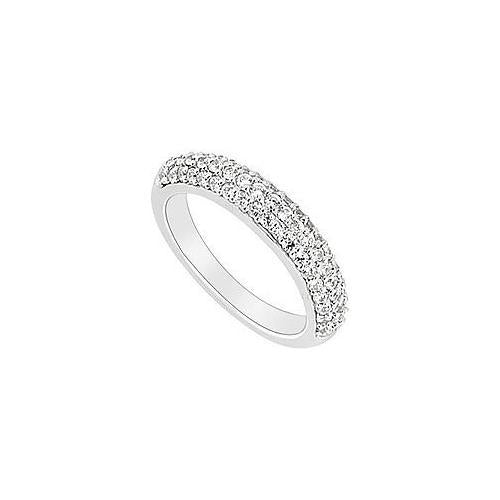 14K White Gold : Round Prong-Set Diamond Wedding Band 0.70 CT TDW-JewelryKorner-com
