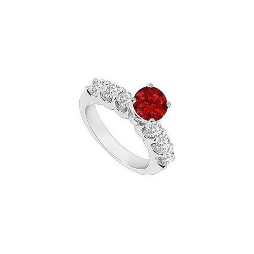 14K White Gold : Ruby and Diamond Engagement Ring 0.80 CT TGW-JewelryKorner-com