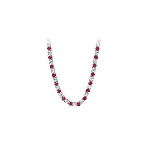 14K White Gold Ruby & Diamond Eternity Necklace 16.00 CT TGW-JewelryKorner-com