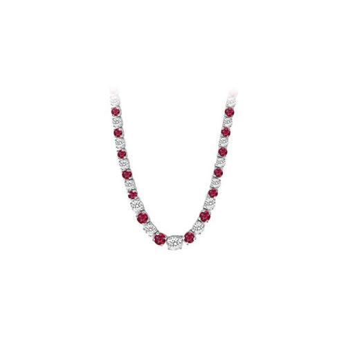 14K White Gold Ruby & Diamond Eternity Necklace 17.00 CT TGW-JewelryKorner-com