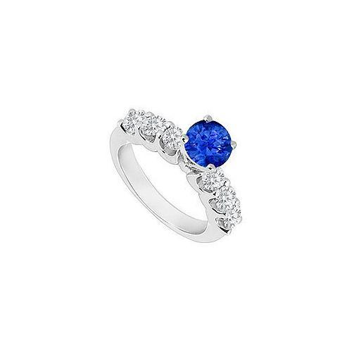 14K White Gold : Sapphire and Diamond Engagement Ring 0.80 CT TGW-JewelryKorner-com