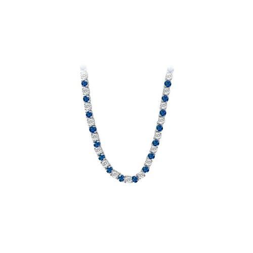 14K White Gold Sapphire & Diamond Eternity Necklace 16.00 CT TGW-JewelryKorner-com