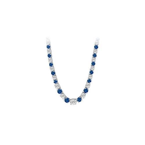 14K White Gold Sapphire & Diamond Eternity Necklace 17.00 CT TGW-JewelryKorner-com