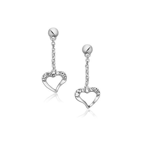 14K White Gold Sparkle Texture Heart Dangle Earrings-JewelryKorner-com