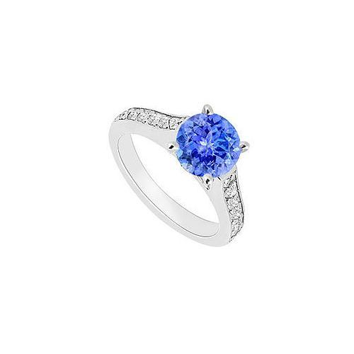 14K White Gold : Tanzanite and Diamond Engagement Ring 0.80 CT TGW-JewelryKorner-com