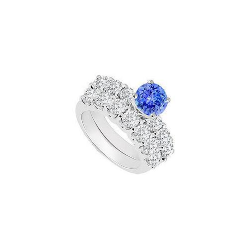 14K White Gold : Tanzanite and Diamond Engagement Ring with Wedding Band Set 1.15 CT TGW-JewelryKorner-com