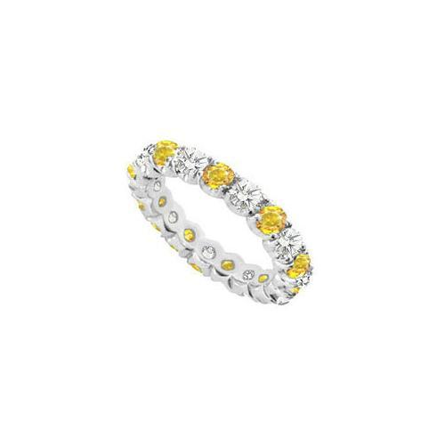 14K White Gold Yellow Sapphire and Cubic Zirconia Prong-Set Eternity Band 7.00 CT TGW-JewelryKorner-com