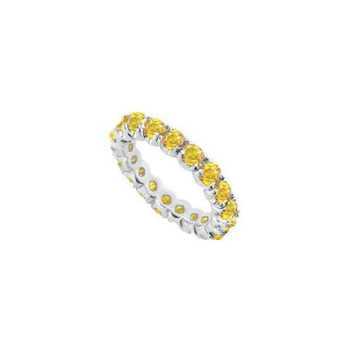 14K White Gold Yellow Sapphire Prong-Set Eternity Band 5.00 CT TGW-JewelryKorner-com