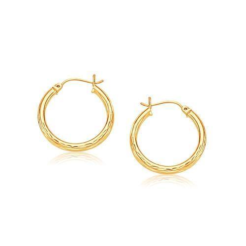 14K Yellow Gold 25mm Diameter Hoop Earring with Diamond-Cut Finish-JewelryKorner-com