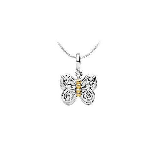 14K Yellow Gold and .925 Sterling Silver Fashion Charm Pendant-JewelryKorner-com