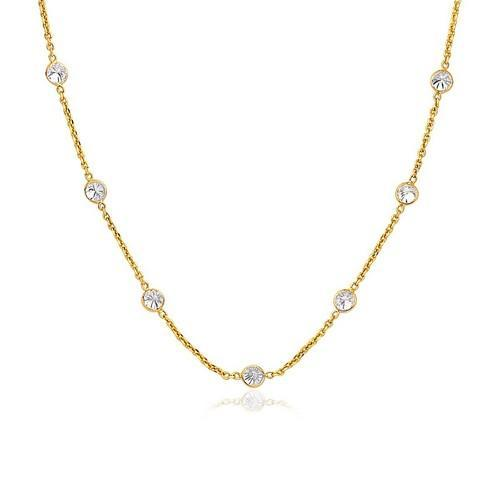 14K Yellow Gold CZ By the Yard Long Links, size 18''-JewelryKorner-com