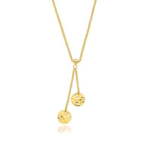14K Yellow Gold Hammered Disc Lariat 17'' Necklace, size 17''-JewelryKorner-com