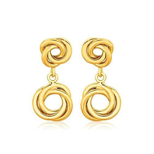 14K Yellow Gold Love Knot Stud Earrings with Drops-JewelryKorner-com