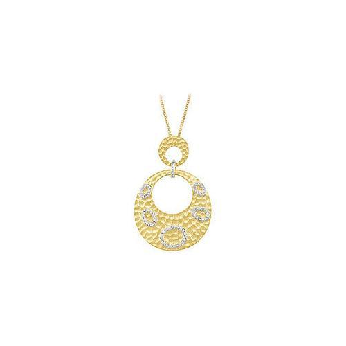 14K Yellow Gold Plated Sterling Silver Cubic Zirconia Pendant-JewelryKorner-com