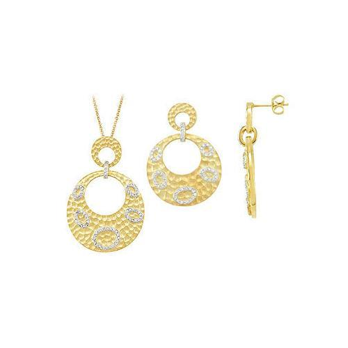 14K Yellow Gold Plated Sterling Silver with Cubic Zirconia Earrings and Pendant sets-JewelryKorner-com
