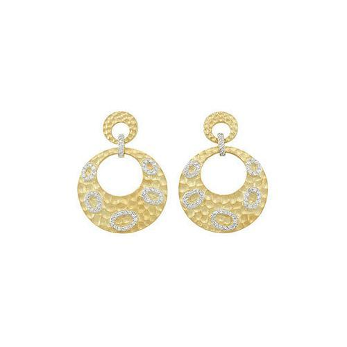 14K Yellow Gold Plated Sterling Silver with Cubic Zirconia Earrings-JewelryKorner-com