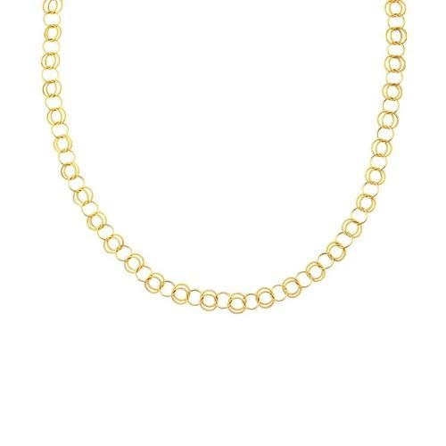 14K Yellow Gold Polished and Dual Textured Round Link Necklace, size 38''-JewelryKorner-com