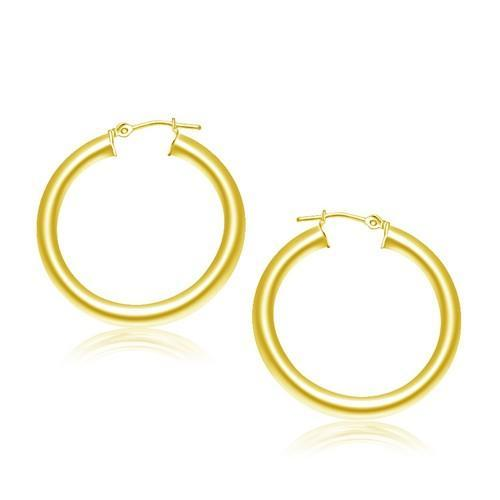 14K Yellow Gold Polished Hoop Earrings (30 mm)-JewelryKorner-com