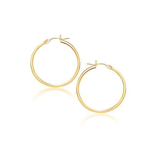14K Yellow Gold Polished Hoop Earrings (40 mm)-JewelryKorner-com