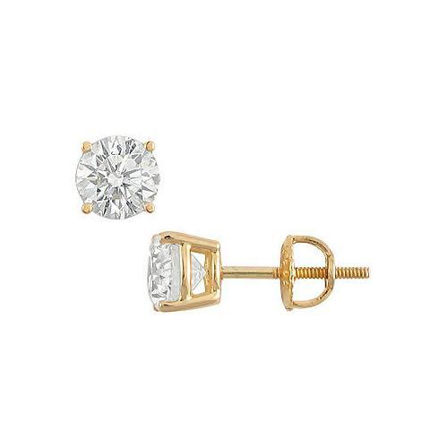 14K Yellow Gold : Round Diamond Stud Earrings 2.00 CT. TW.-JewelryKorner-com