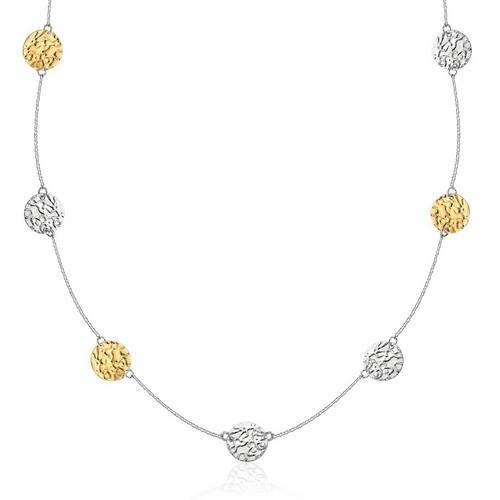 14K Yellow Gold & Sterling Silver 32'' Reticulated Disc Station Necklace, size 32''-JewelryKorner-com