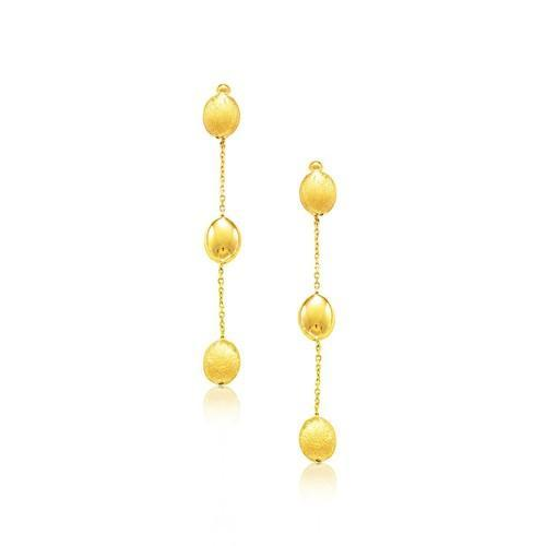 14K Yellow Gold Textured and Shiny Pebble Dangling Earrings-JewelryKorner-com