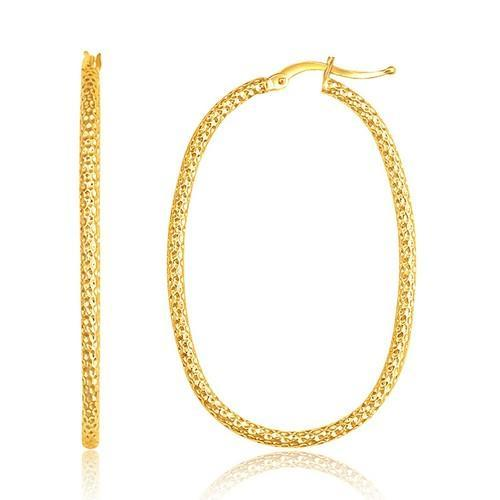 14K Yellow Gold Textured Large Oval Hoop Earrings-JewelryKorner-com