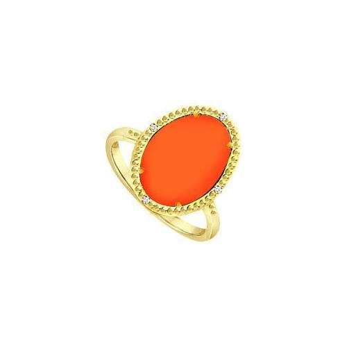 15.08 ct Orange Chalcedony and Cubic Zirconia Ring in .925 Sterling Silver Overlay 18K Yellow Go-JewelryKorner-com