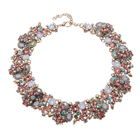 17 Colors ZA Vintage Retro Gold Silver Chain Glass Crystal Cluster Statement Necklace High Quality Hotsale Spring Jewelry