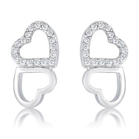 .17 Ct Melded Hearts Rhodium and CZ Stud Earrings-JewelryKorner-com