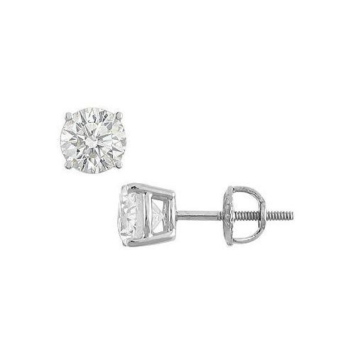 18K White Gold : Round Diamond Stud Earrings 2.00 CT. TW.-JewelryKorner-com