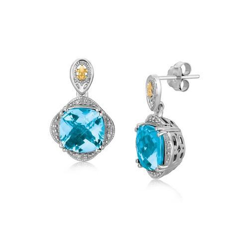 18K Yellow Gold and Sterling Silver Blue Topaz and Diamond Earrings-JewelryKorner-com