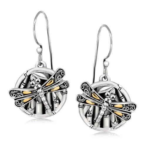18K Yellow Gold and Sterling Silver Branch and Dragonfly Design Earrings-JewelryKorner-com