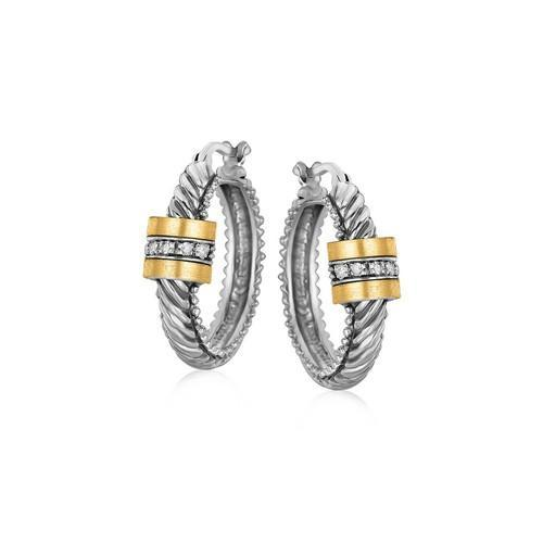 18K Yellow Gold and Sterling Silver Diamond Italian Cable Style Hoop Earrings-JewelryKorner-com