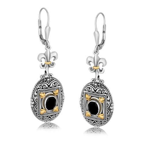 18K Yellow Gold and Sterling Silver Earrings with Framed Black Onyx Accents-JewelryKorner-com