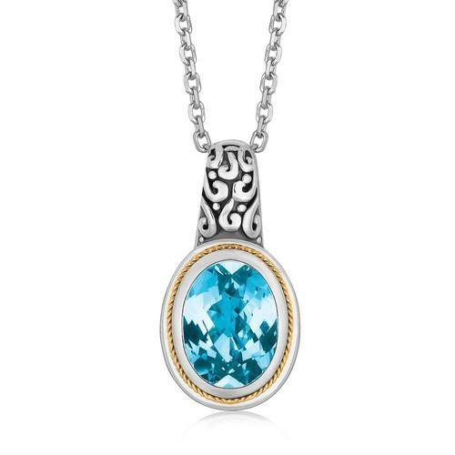 18K Yellow Gold and Sterling Silver Necklace with Blue Topaz Milgrained Pendant, size 18''-JewelryKorner-com